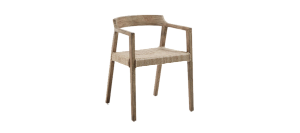 Wooden chair for outdoor use.