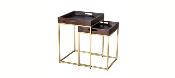 Liberta side table set of two in brown top and golden legs.