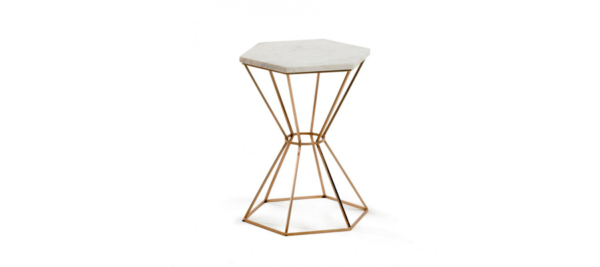 Small white marble side table.