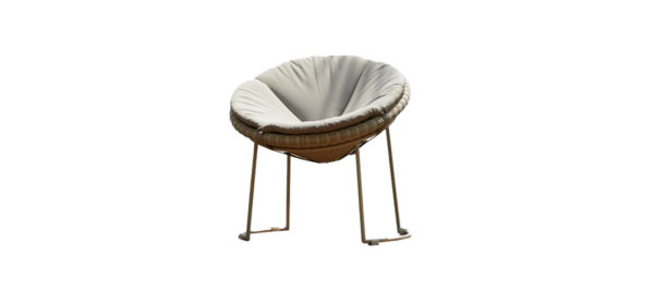 Skyline outdoor Luna chair with rattan and grey cushion.