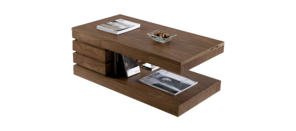Wooden coffee table oak with magazine space.