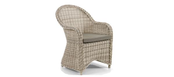 Rattan brown colour outdoor armchair.
