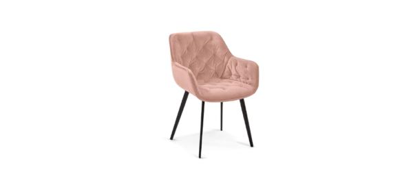 Pink velvet dining chair.