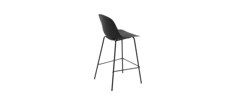 Side view of grey bar stool.
