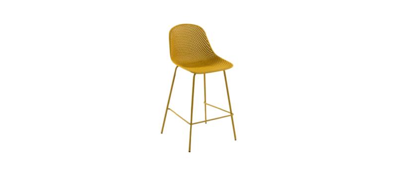 Yellow bar stool.