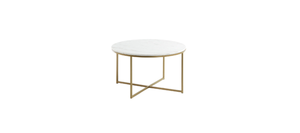 White coffee table with gold base.