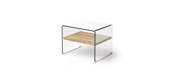Glass and wood side table.
