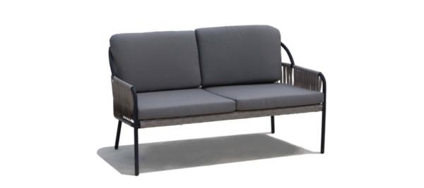 Skyline grey outdoor sofa with black legs.