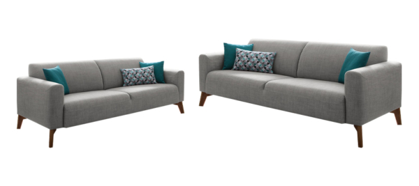 Two luxury sofas in fabric grey and wooden legs.