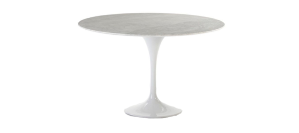 White dining table for your house with marble top.