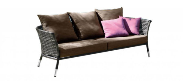 Rattan yunge 3 seater sofa in brown colour for outdoor use.