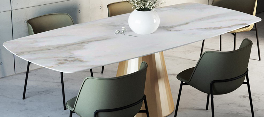 dorico round long marble dining table  andreotti