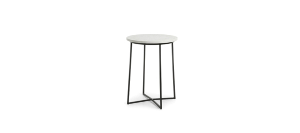 Burnet b side night table in black and marble white top.