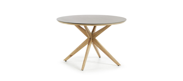 Ceramic top and wooden legs dining table.