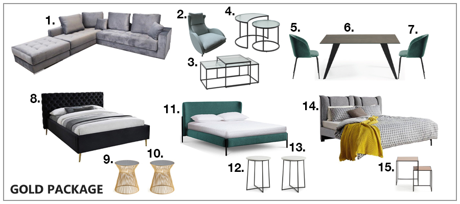 Beds side tables sofas top quality packages.