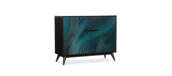 Hooker furniture console case blue gold green painting.
