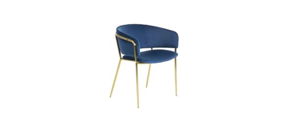 BLue velvet dining chair.