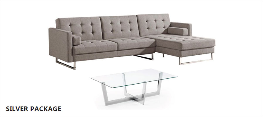 Grey corner sofa with silver glass coffee table.