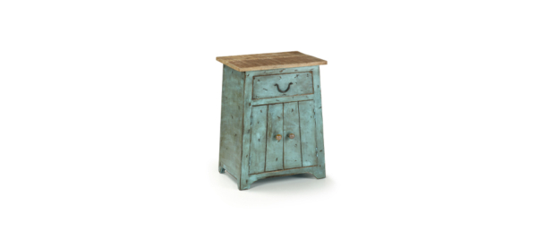 Green wood 1 door and 1 drawer side night table.