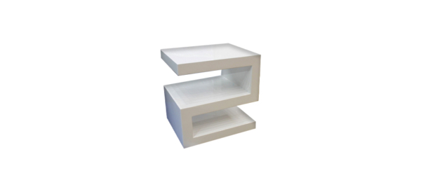 White number two shaped glossy side night table.
