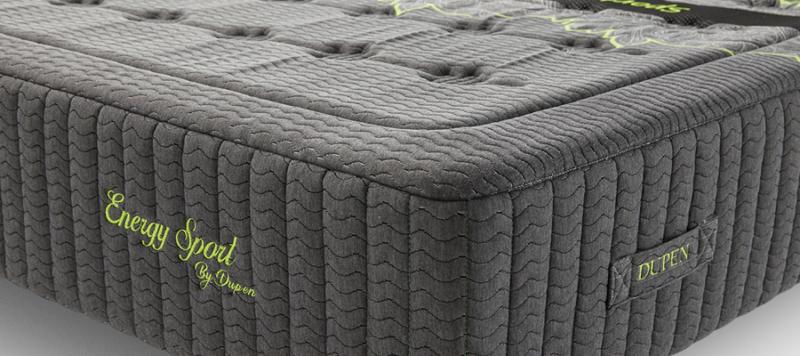 Close up view of black mattress.