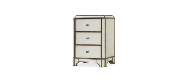 Hooker white mirror 3 drawer night table.
