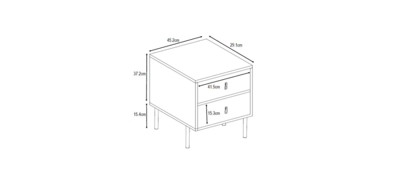 Detail dimensions of bedside table.