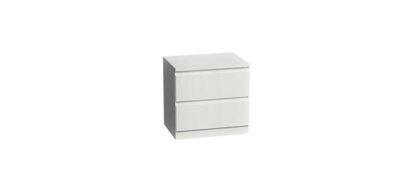 White bedside table.