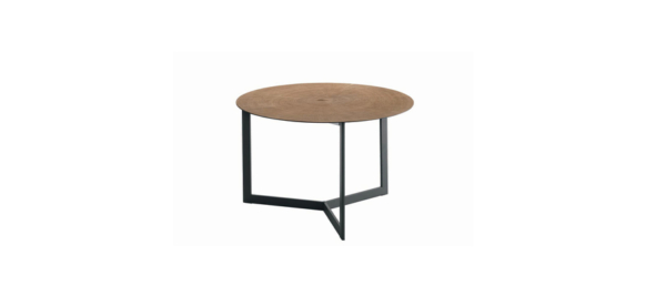 Side table brown top black body.