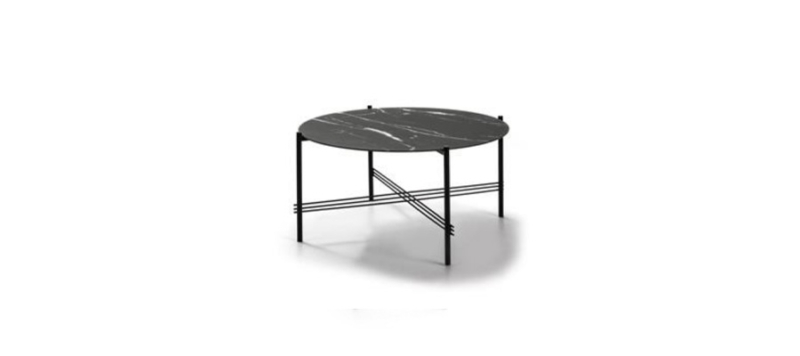 Black metallic ceramic coffee table.