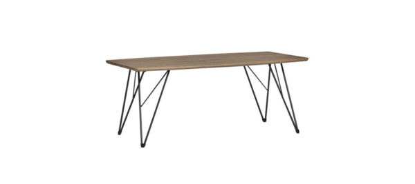 Wire wooden black dining table.