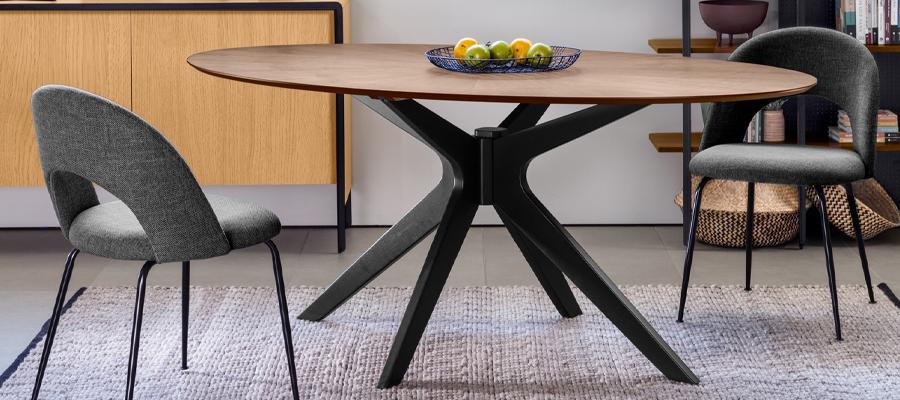 dining walnut top  black base  elegant table  andreotti