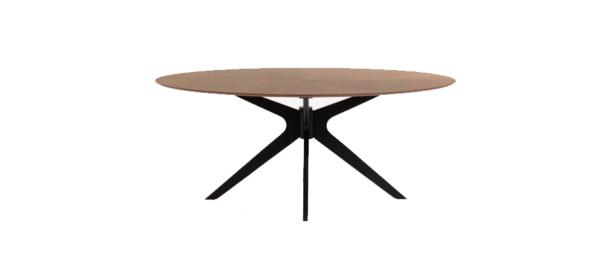 Walnut top black legs dining table.