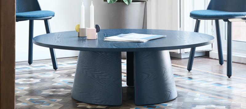 Amazing blue wood coffee table.
