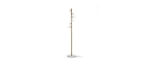 Floor lamp in gold and white marble.