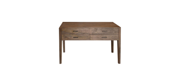 Wooden 4 drawer console.