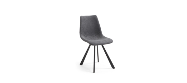 Metal black legs and grey fabric chair.