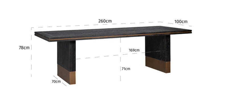 Wooden gold dining table dimensions.