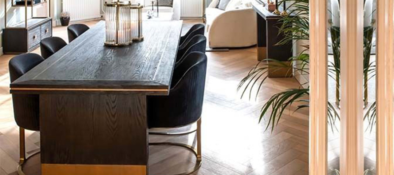 Wooden luxury gold dining table.